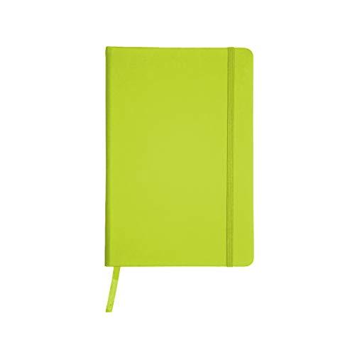 Projects - Taccuino ecologico 'Business' in formato A5 a righe 80 G/M2 carta FSC 192 pagine, copertina rigida con rivestimento Soft Touch in PU & segnalibro a nastro lime