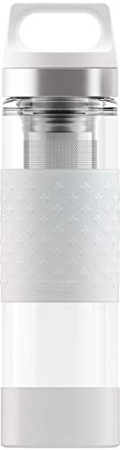 SIGG Hot & Cold Glass Thermo Trinkflasche (0.4 L), schadstofffreie und isolierte Trinkflasche, Thermo-Flasche aus Glas mit Silikonschutz