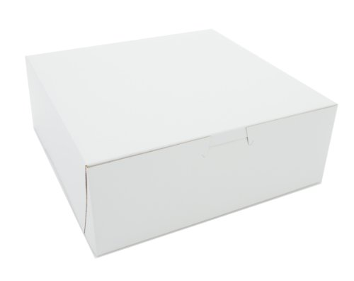 """Southern Champion Tray 0937 Premium Clay Coated Kraft Paperboard White Non-Window Lock Corner Bakery Box, 8"""" Length x 8"""" Width x 3"""" Height (Case of 250)"""