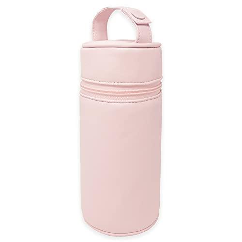 Duffi Baby Termo porta biberon polipiel bebe. Bolsa termica portabiberon caliente y frio. Funda isotermica para biberones o termo portatil. Cremallera y asa. Limpieza facil. Color Rosa