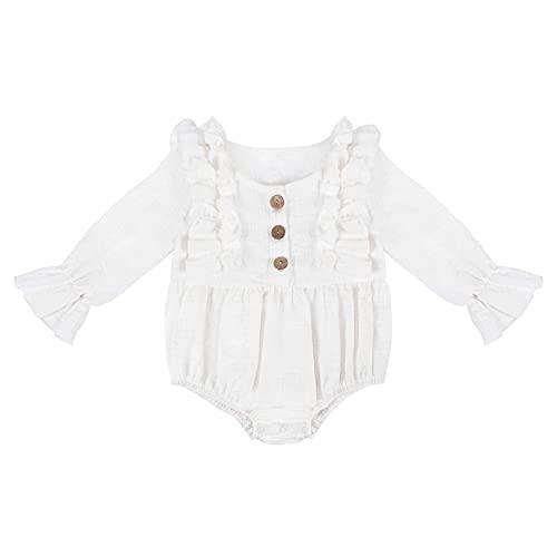 YOOFOSS Body para bebé trajecito de manga larga de algodón Niñas Mameluco Manga larga para Niños Trajes Baño Ropa de Verano Pelele 6-12 Meses