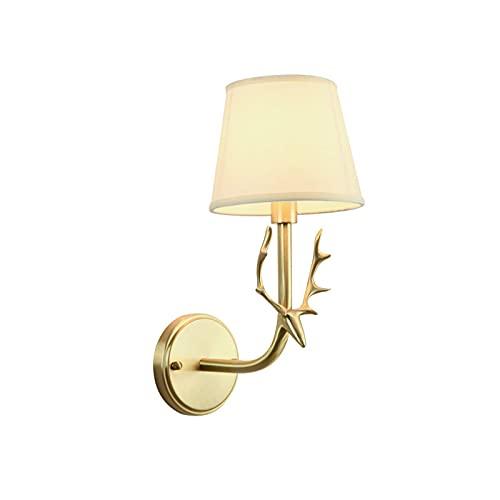 LEIKAS Lámpara de Pared de Cobre de Lujo Fino Moderno, lámpara de Pared de decoración de Dormitorio E27, Pantalla de Tela Hecha a Mano, iluminación cálida y cómoda,