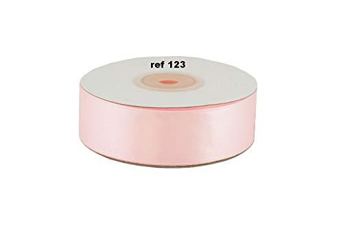 ruban satin 25 mm de large bobine de 25 metres nouvelles couleurs (Rose tendre 123)