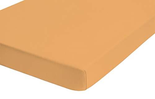 biberna 0002542 Fitted Sheet Flannelette Stretch (Mattress Height Max. 22 cm) 1x 90 x 190 cm  100 x 200 cm Turmeric