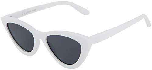 La Optica B.L.M. UV400 CAT 3 CE Damen Sonnenbrille Cateye Katzenaugen - Weiß (Gläser: Grau)_LO25 B-White