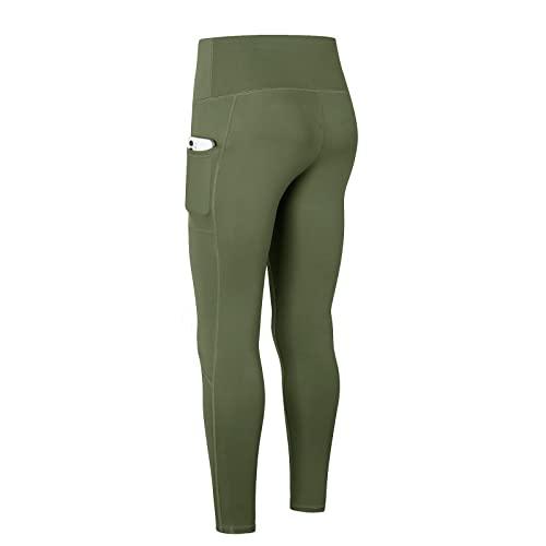 Pantalones de yoga para mujer con cintura alta, control de abdomen, leggings para gimnasio, entrenamiento, correr, glúteos, leotardos estructurados, verde, XL