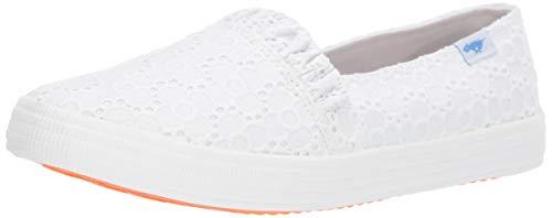 Rocket Dog Women s CLEA Pretty Petal Cotton Boat Shoe, White, 7 Medium US
