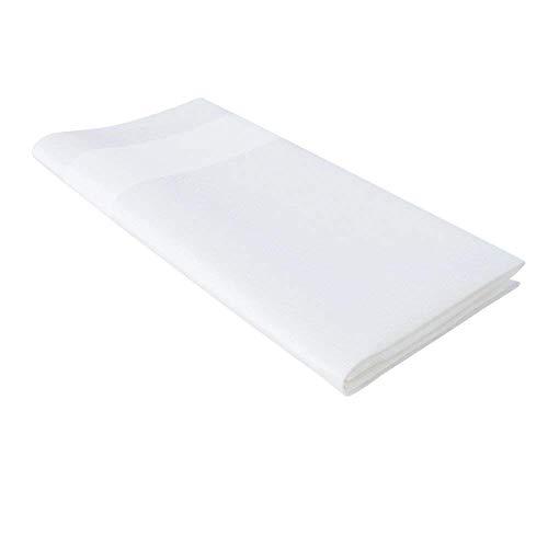 Lot de 4 serviettes de table en coton avec ruban en satin Blanc 53 x 54 cm