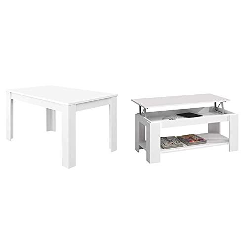 Habitdesign Mesa de Comedor Extensible, Mesa salón o Cocina, Acabado en Color Blanco Artik + Mesa Centro con revistero, Mesa elevable, mesita Mueble Salon Comedor