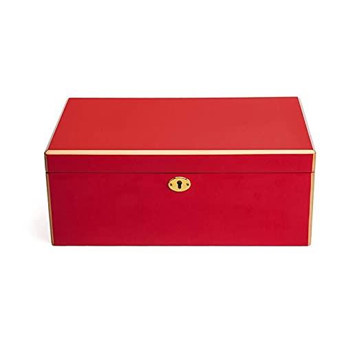 SSHA Joyero Caja de joyería de madera, caja de almacenamiento de joyas de 2 niveles, Pendientes Joyas de almacenamiento Mostrar caja con tablero de fibra con espejo grande y cerradura Organizador de j