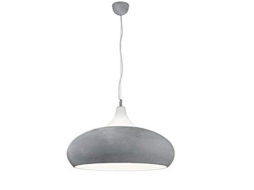 Luminaire suspendu vintage en métal de couleur béton + verre blanc, suspension de 150 cm et environ Diamètre : 60 cm