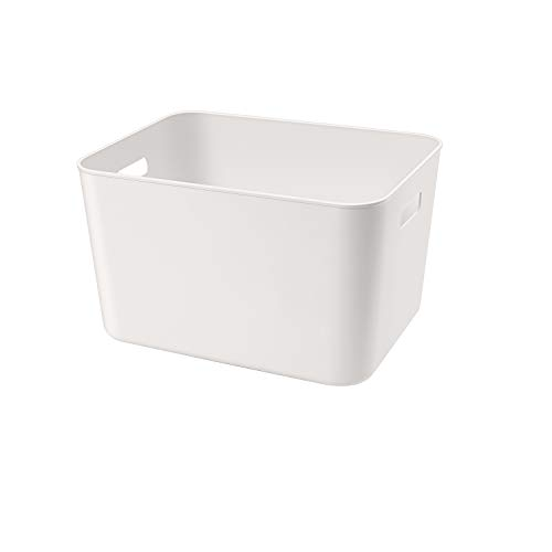 Amyup Storage Bin,13.4x10.2x8''Cube Storage Box for Kitchen Pantry,Bathroom,1 Pack,Plastic Organizer Container for Under Bed,Desk,Office and Drawer(Large)