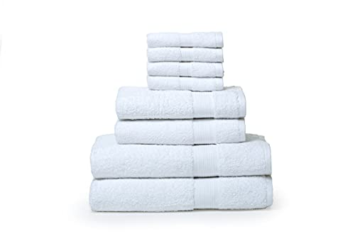 Rare Fig Set di Asciugamani in Puro Cotone 2 Asciugamani da Bagno, 2 Asciugamani e 4 Vestiti da Lavare per Bagno, Parrucchiere, Asciugamani per Spa e Massaggi - 8 Pezzi (Bianca)