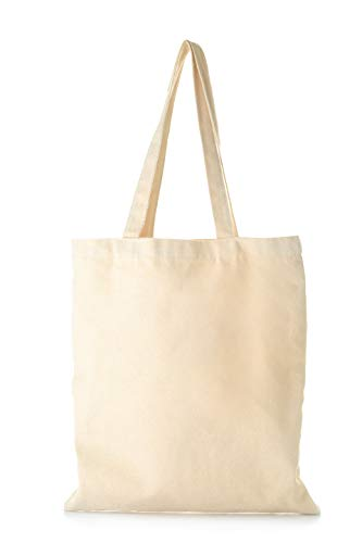 Blank Canvas Tote Bags in Bulk - 12 Pack - Reusable Plain Cotton Canvas Bags for Shopping, Crafts, Gifts, Promotional Use, Personalization - Wholesale Canvas Bags 15 X 16