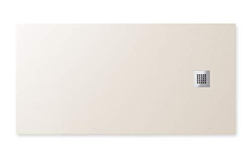 Receveur de douche carré Silex extraplat Pizarra - Bonde incluse - Blanc