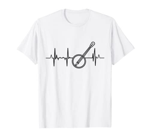 Bluegrass Música Heartbeat Banjo Camiseta