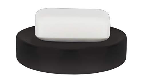 Spirella Seifenschale Steinoptik dekorative Badausstattung Seifenablage Tube Maße: 11 x 11 x 3 cm - Schwarz matt