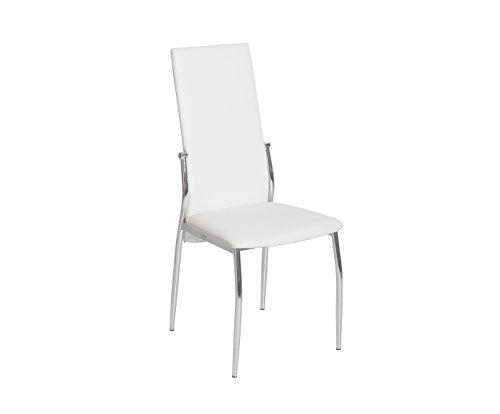 Esidra 9054 – 01 Lot de 4 Chaise, Acier chromé, Cuir synthétique, Blanc, 45 x 50 x 100 cm
