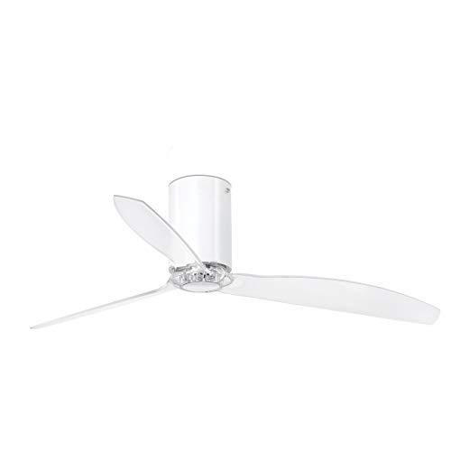 Faro Barcelona 32038WP- MINI TUBE FAN Ventilador de techo blanco brillo/transparente con motor DC SMART (Receptor Smart 34150 no incluido)
