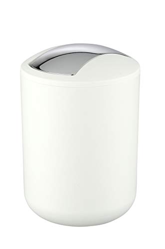 WENKO Cubo con tapa oscilante Brasil S blanco - a prueba de rotura Capacidad: 2 l, Plástico (TPE), 14 x 21 x 14 cm, Blanco