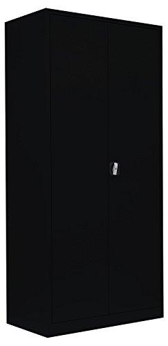 Lüllmann Flügeltürenschrank Schrank Stahl Stahlblech Lagerschrank Aktenschrank Büroschrank Werkzeugschrank schwarz 4 Fachböden/5 Ordnerhöhen 530359 kompl. montiert und verschweißt