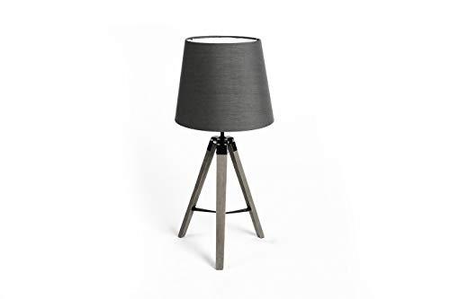 LIFA LIVING Moderne Tripod Tafellamp, Ronde Leeslamp, Grijze Klassieke Driepoot Bureaulamp voor Woonkamer, Slaapkamer, Kantoor