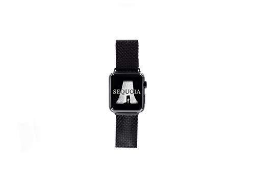 Sequoia - Cinturino di ricambio per Apple Watch (serie 1-6), maglia milanese e Acciaio inossidabile, colore: Nero