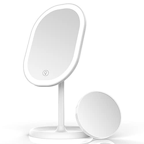 Aidodo Schminkspiegel, Tischspiegel Rasierspiegel Schminkspiegel Beleuchtet mit Dimmbarer Helligkeit LED Licht, Mit 5X Vergrößern Spiegel, 180° Faltbarer Tischspiegel, Freund