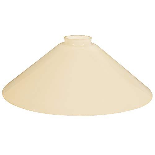 Schusterschirm Lampenglas Ersatzglas Ø 300mm Beige, Leuchtenglas rund Schusterglas Opalglas Glasschirm mit Kragen