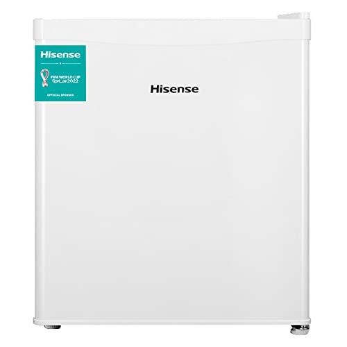 Hisense RR55D4AW1 Mini bar, petit réfrigérateur, 42 L de capacité nette, 51 cm de hauteur, table haute, une porte réversible, classe F, bas plan de travail, couleur blanc, silencieux