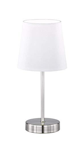 WOFI Tischleuchte, Cesena 1-flammig, weiß, Ø ca. 14 cm, Höhe ca. 31 cm, Stoffschirm, 832401060000