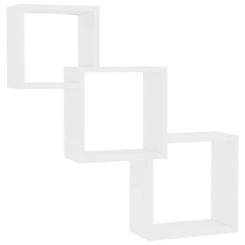 vidaXL Cube Wandregal Hängeregal Bücherregal Regalwürfel Cube Lounge CD DVD Regal Schweberegal Wand Deko Weiß 84,5x15x27cm Spanplatte