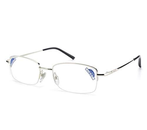 Metall-Lesebrille Hochwertige elegante Halbrahmenbrille Modische Lesebrille für Männer und Frauen Anti-blaue Lesebrille Geeignet für alle Gesichtsformen älterer Menschen Gläser enthalten Brillenetui +