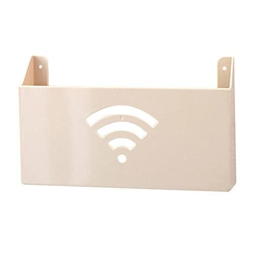 Inicio Creativo Tamaño pequeño Cajas de almacenamiento para enrutador de pared Estante Caja práctica Caja de almacenamiento Caja de plástico-Beige, Francia