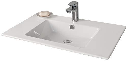 FACKELMANN Waschbecken KERA 810 / Waschtisch aus Keramik / Maße (B x H x T): ca. 81 x 16,5 x 51 cm / Einbauwaschbecken / hochwertiges Becken fürs Badezimmer und WC / Farbe: Weiß / Breite: 81 cm