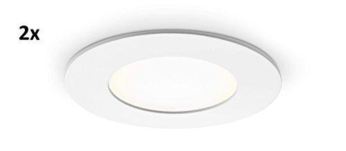 Lot de 2 Panneau LED rond avec 4 W Puissance, encastrable, blanc neutre, 8,6 cm – type : Economy r4086nw