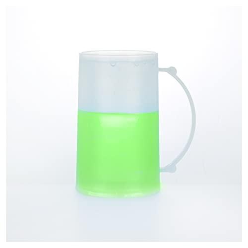 2uds Jarra de colores para congelar bebida - Enfriador de bebida - Refrigera bebida 15cm (Verde)