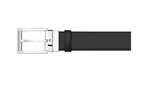 Montblanc Cinturón reversible negro y tabaco en piel estampada Saffiano, extragrande 116713