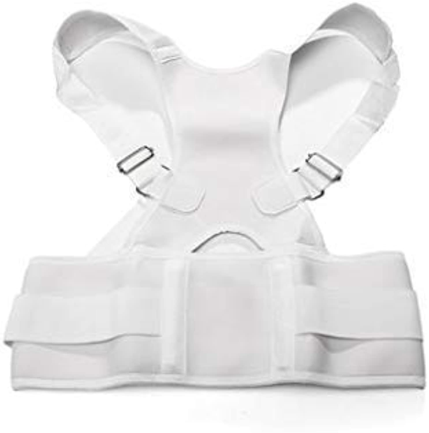 Adjustable Back Support Posture Corrector Brace Should Belt Strap White 2XL