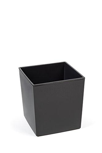 Kreher XXL Design Pflanzkübel aus Kunststoff in Hochglanz Grau mit Herausnehmbaren Einsatz. Maße BxTxH in cm: 40 x 40 x 41 cm