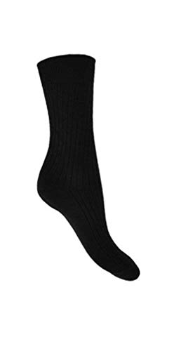 Aler Herren Schwarz Socken Baumwollreich Weiches Top Elastisch Geschenk Strumpffüller - Schwarz 6pr, 40-45