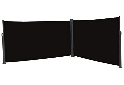 vanvilla Doppel Seitenmarkise Eck Markise Sichtschutz Windschutz Sonnenschutz Anthrazit RAL7016 120x600 cm