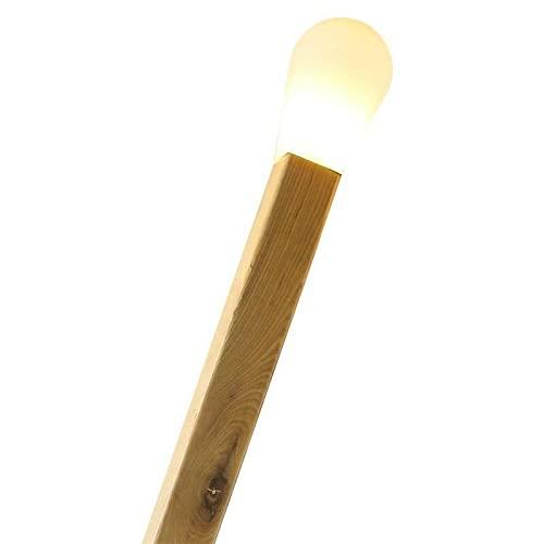 Lámpara de pie modelo CERILLA Gigante, Blanco. Imitación de una cerilla gigante en madera y con cabezal intercambiable, se envía el cabezal en color blanco