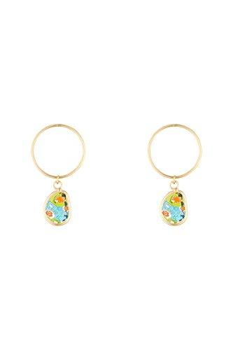 Córdoba Jewels | Pendientes en plata de ley 925 bañada en oro con piedra semipreciosa con diseño Circle Kiut Murano Gold