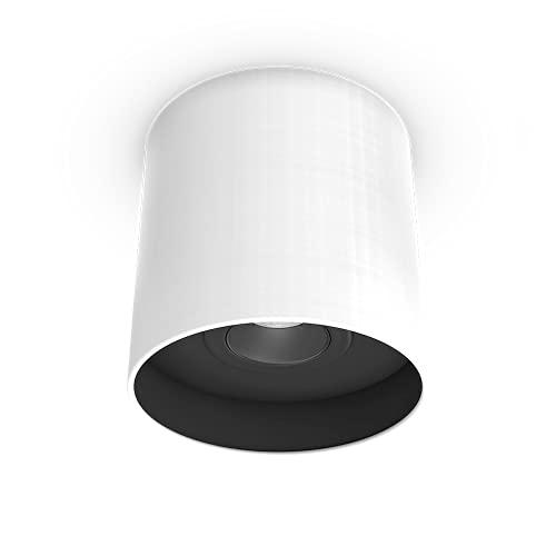 Downlight LED regulable | Foco de techo | Lámpara de techo | Lámpara de techo | Lámpara de techo | Pantalla de tela | GU10 | orientable 30° | Ø18 cm | Incluye bombilla | 4000 Kelvin | (blanco / negro)