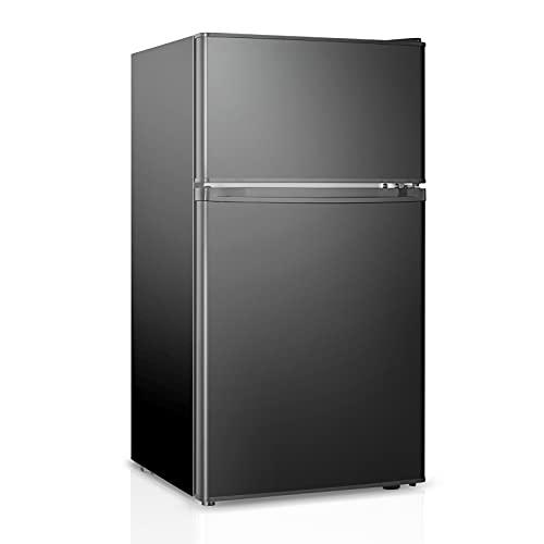 HAILANG Mini Fridge With Freezer,3.2 Cu.Ft Compact Refrigerator With 2 Doors For Bedroom,Office,Apartment,Dorm(Classics Black))