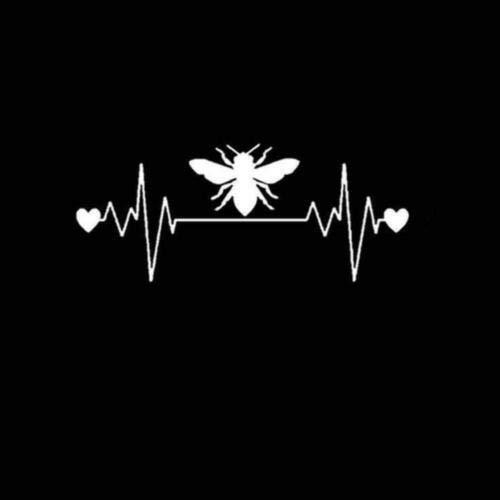 SUPERSTICKI Herzschlag Heartbeat Biene Fliege Wespe 20cm Aufkleber,Autoaufkleber,Sticker,Decal,Wandtattoo, aus Hochleistungsfolie,UV&waschanlagenfest,
