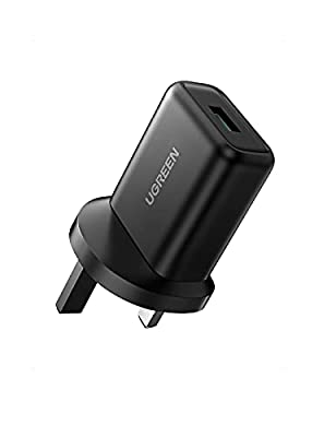 UGREEN QC 3.0 USB Quick Charge Plug UK, 18W 9V/2A Fast Power Adapter Wall Brick Compatible with Samsung S21/S20/S10/S9/S8/Note 10/Note 9, Huawei P40/P30, Mi 10/9/8, iPhone, iPad, Wireless Charger etc.