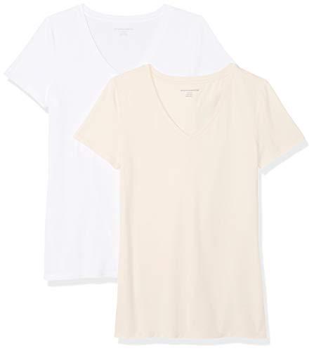 Amazon Essentials - Confezione da 2 magliette a maniche corte con scollo a V da donna, Rosa (Peach/White), US M (EU M - L)