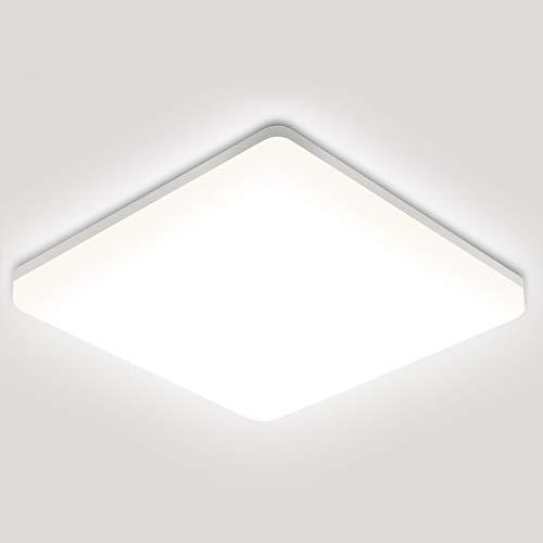 Oeegoo LED Lampara de Techo, 24W 2400LM, IP44 resistente al agua, LED Plafon para Baño Cocina Balcón Corredor Oficina Comedor Blanco Natural 4000K